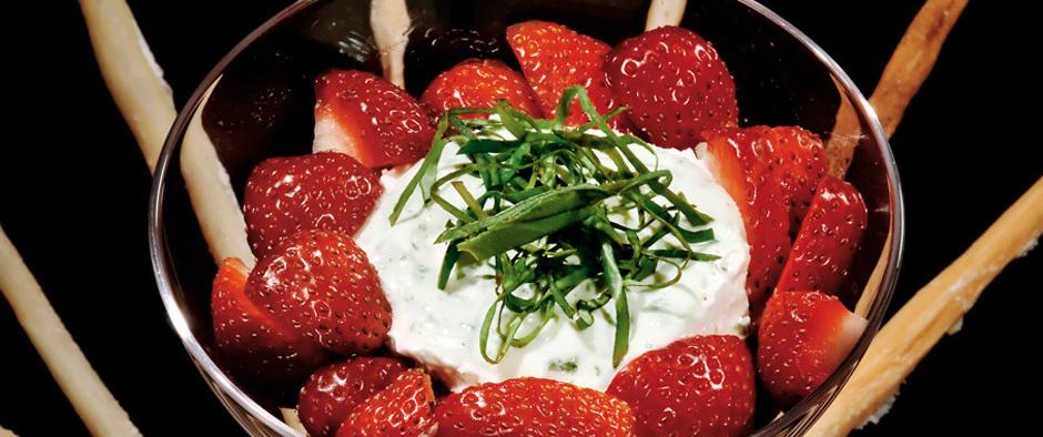 Erdbeeren mit Frischkäse